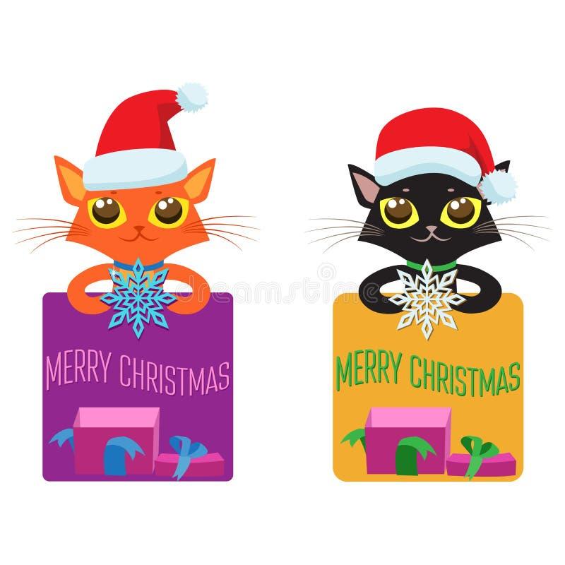 Personifierade små lyckönskan Julvektoruppsättning av katter i dräkter, gåvor och snöflingor vektor illustrationer