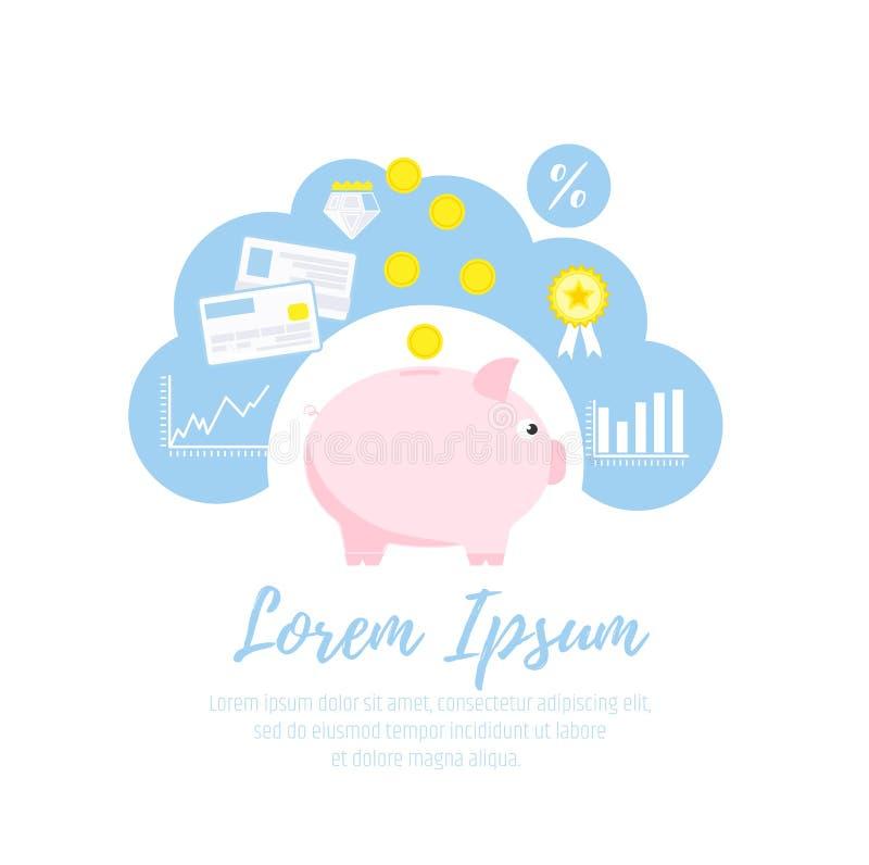 Personlig budget och finansiell redovisning Investering, besparingar och insättning Piggy packa ihop royaltyfri illustrationer