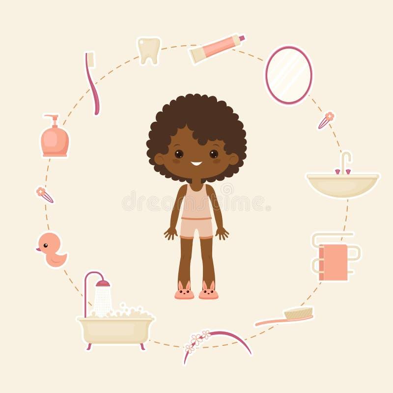 Personlig daglig hygienbegreppsdesign royaltyfri illustrationer