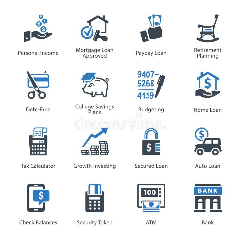 Personlig & för affärsfinanssymboler uppsättning 2 - blå serie royaltyfri illustrationer