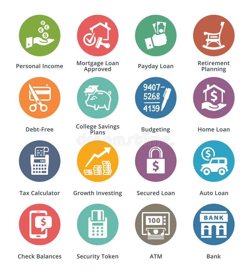 Personlig & för affärsfinanssymboler uppsättning 2 - Dot Series vektor illustrationer