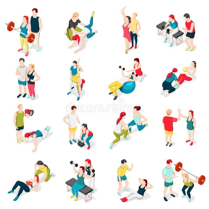 Personlig instruktör Sport Icons royaltyfri illustrationer