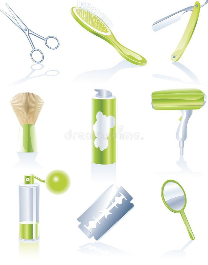 personlig set för haircaresymboler royaltyfri illustrationer