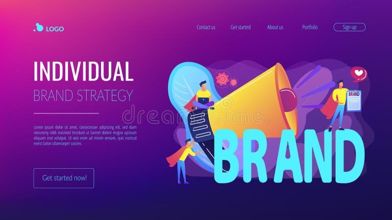 Personlig sida för märkesbegreppslandning royaltyfri illustrationer