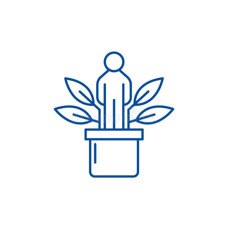 Personlig utvecklingslinje symbolsbegrepp Plant vektorsymbol för personlig utveckling, tecken, översiktsillustration royaltyfri illustrationer