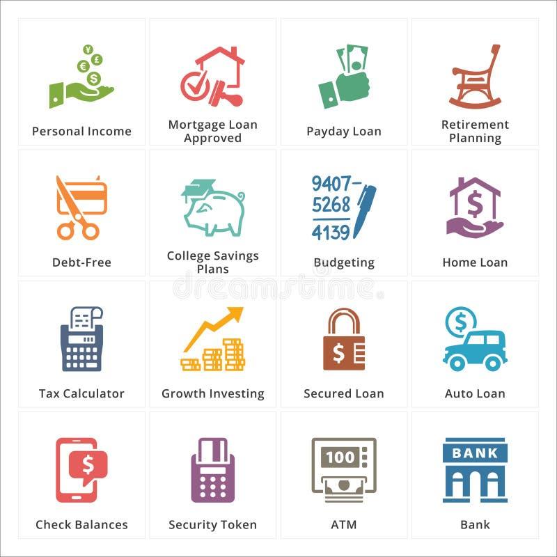 Personliga & affärsfinanssymboler - uppsättning 2 royaltyfri illustrationer