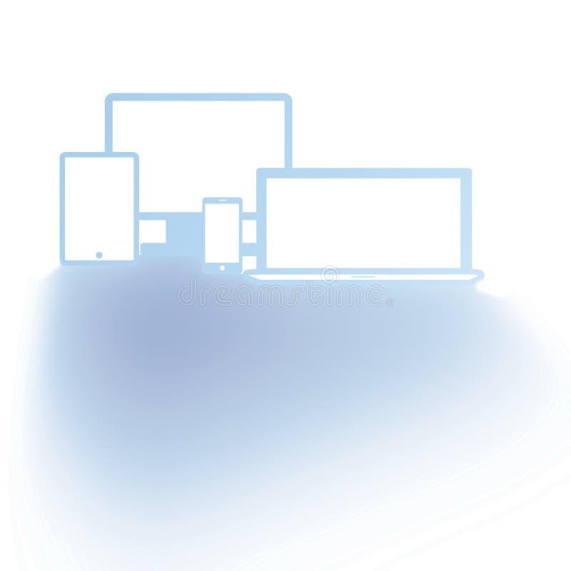 Personliga apparater som göras i blått vektor illustrationer