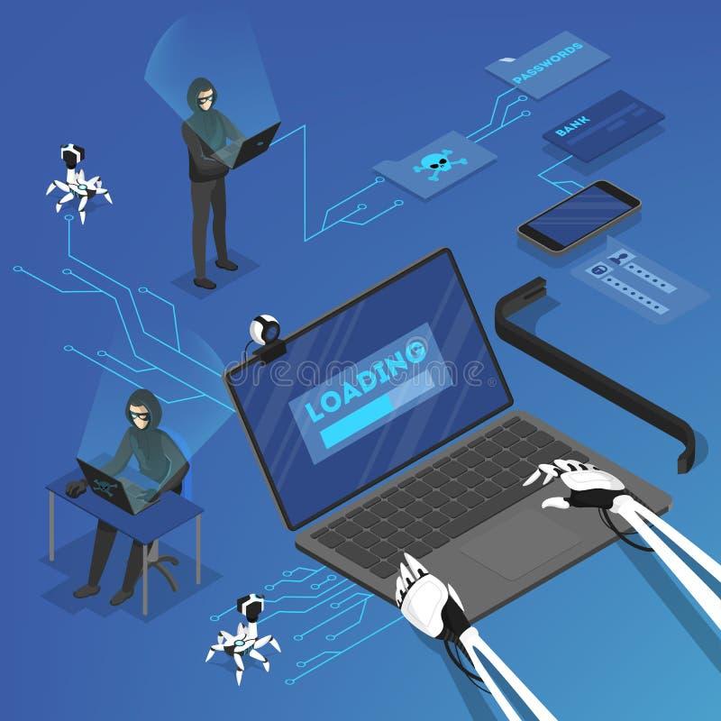 Personliga data för en hackerattack i internet stock illustrationer