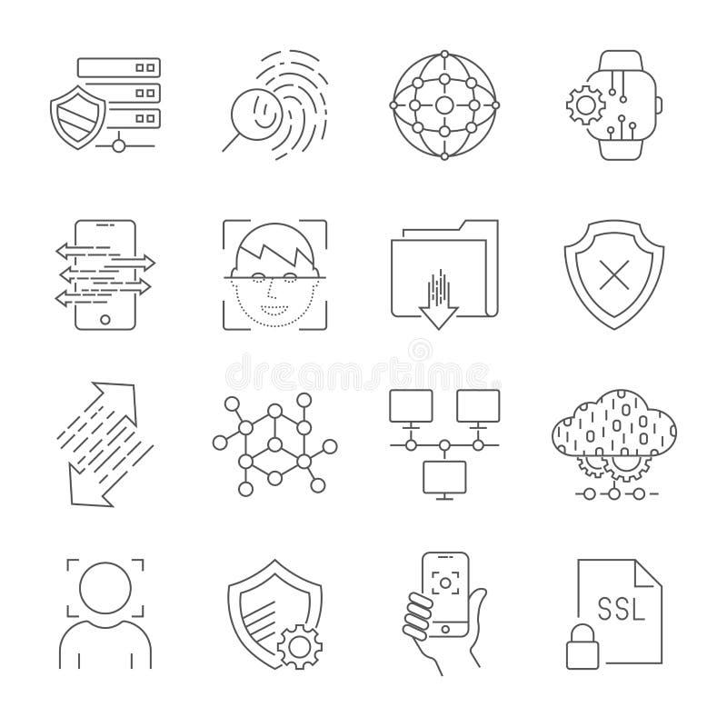 Personliga symboler för dataskydd, säker kontoinloggning, användargränssnittinloggning, framsidaerkännande, platstillträdesbemynd stock illustrationer