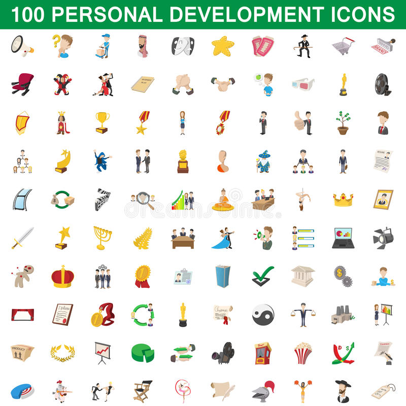 100 personliga utvecklingssymboler uppsättning, tecknad filmstil royaltyfri illustrationer