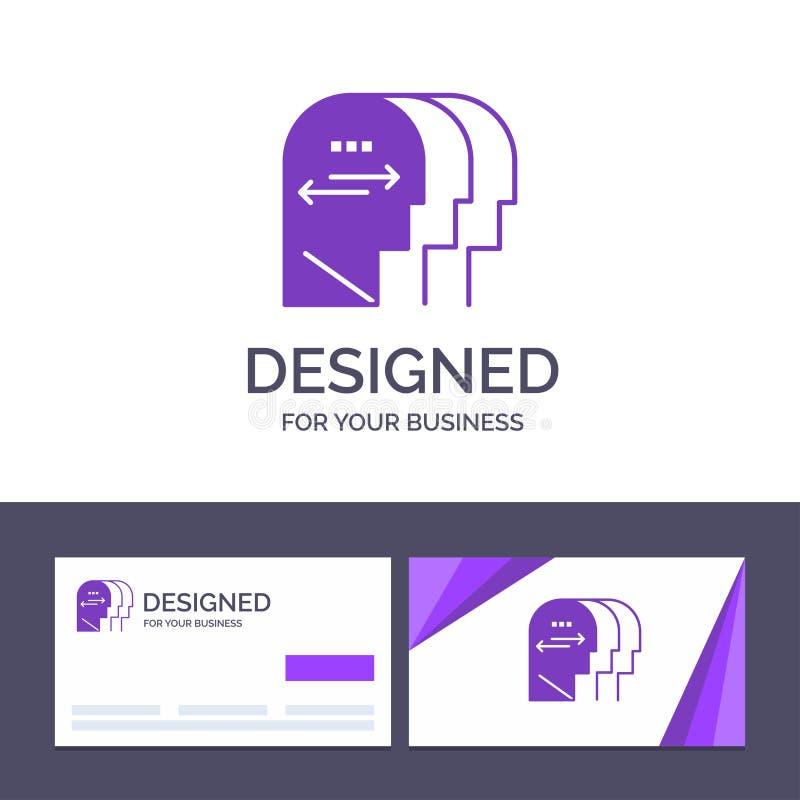Personlighet för idérik mall för affärskort och logo, tecken, mening, huvudvektorillustration stock illustrationer