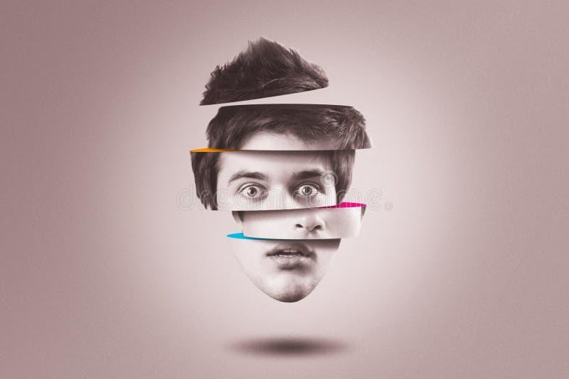 Personlighetsklyvningbegrepp Isolerat utklipphuvud av personen med mental hälsaoordning arkivbilder