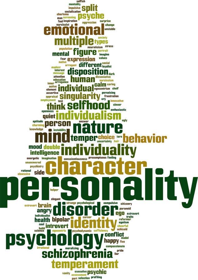 Personlighetsordmoln royaltyfri illustrationer