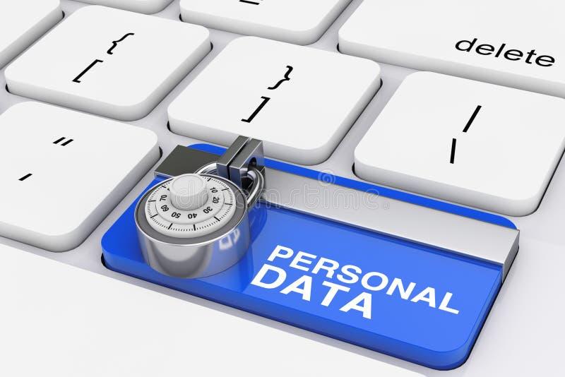 Personligt begrepp för dataskydd Hänglåset över datortangentbordet med blått låste personlig datatangent framförande 3d royaltyfri illustrationer