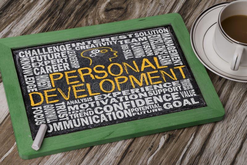 Personligt utvecklingsordmoln arkivfoto