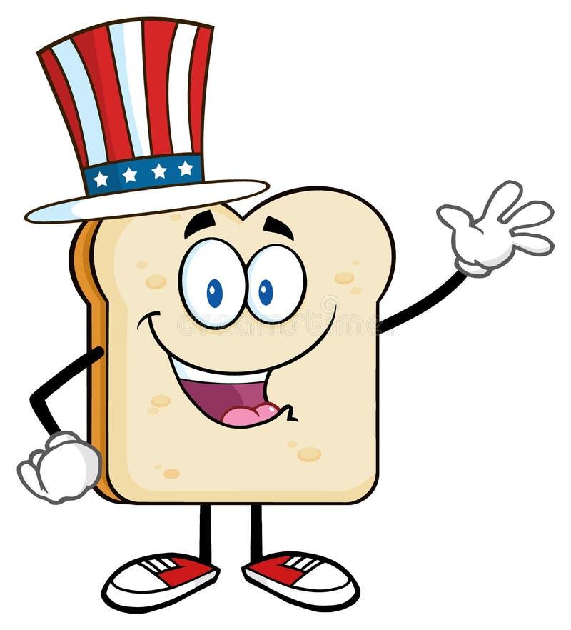 Personnage de dessin animé américain de tranche de pain ondulant pour la salutation illustration de vecteur
