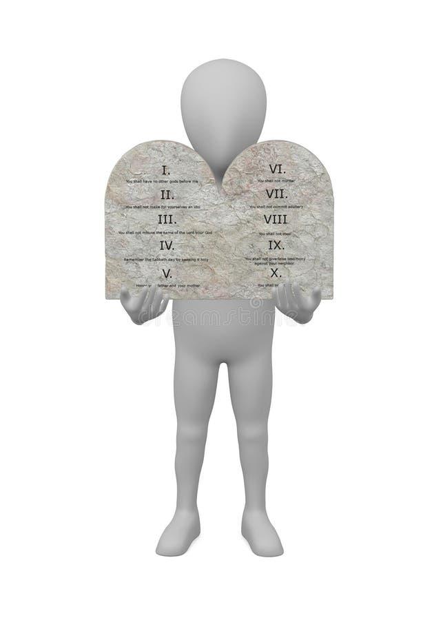 Personnage de dessin animé avec dix commandements - Moïse illustration stock