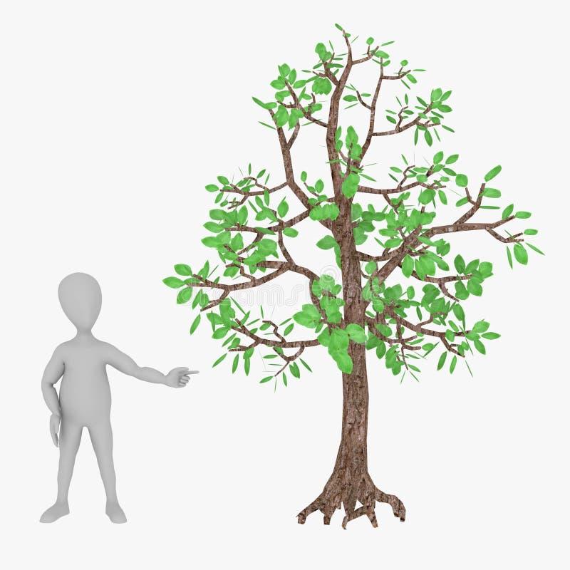 Personnage de dessin animé avec l'arbre de hêtre illustration libre de droits