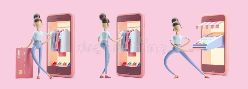 Personnage de dessin animé avec la carte de crédit, le terminal et le téléphone Ensemble d'illustrations 3d Achats d'Internet illustration stock
