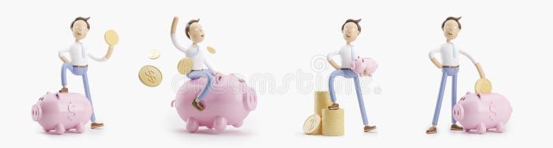 Personnage de dessin animé avec la pièce de monnaie et le porc de tirelire Ensemble d'illustrations 3d illustration stock