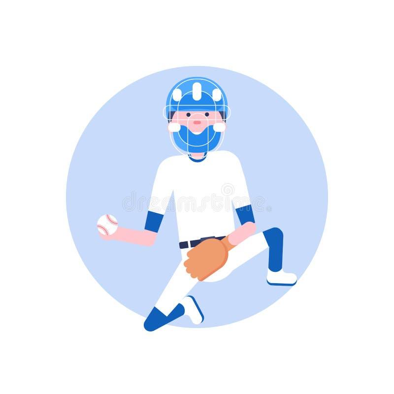 Personnage de dessin animé de base-ball dans le style plat illustration de vecteur