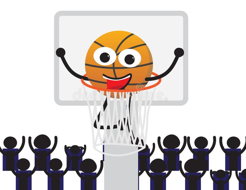 Personnage de dessin animé de basket-ball dans un filet illustration stock