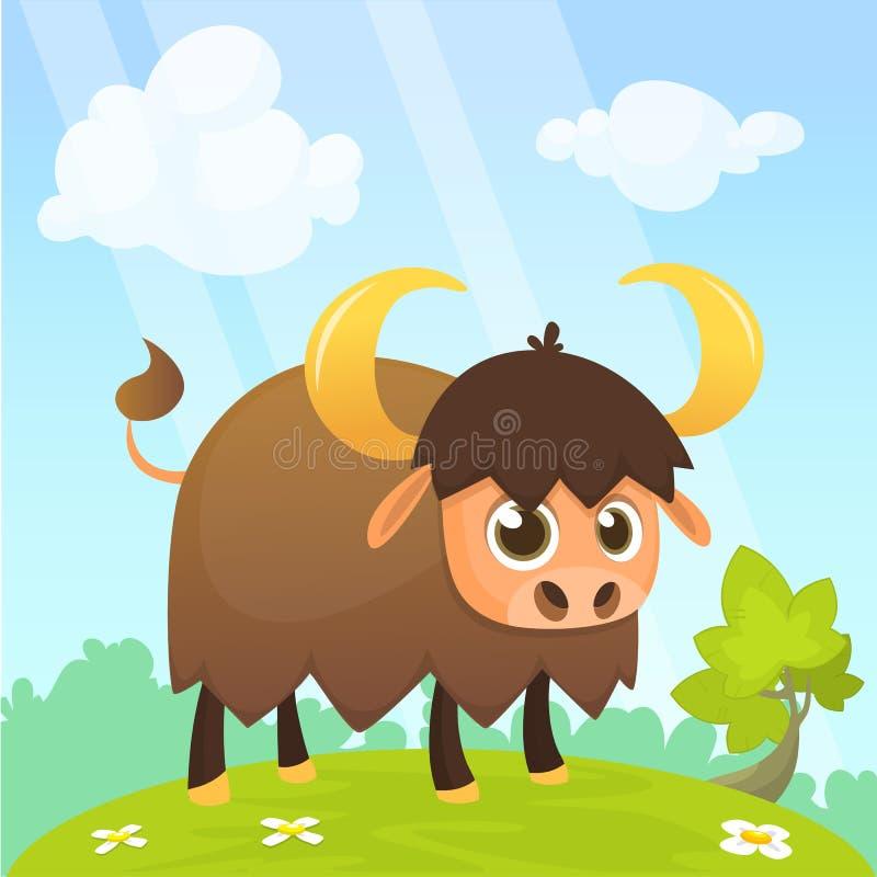 Personnage de dessin animé de bison américain Vecteur plat masculin de grand bison d'isolement sur le blanc Icône de Buffalo Illu illustration libre de droits