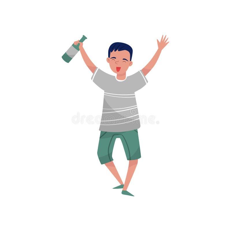 Personnage de dessin animé bu heureux de jeune homme, type avec l'illustration de vecteur de boisson alcoolisée sur un fond blanc illustration stock