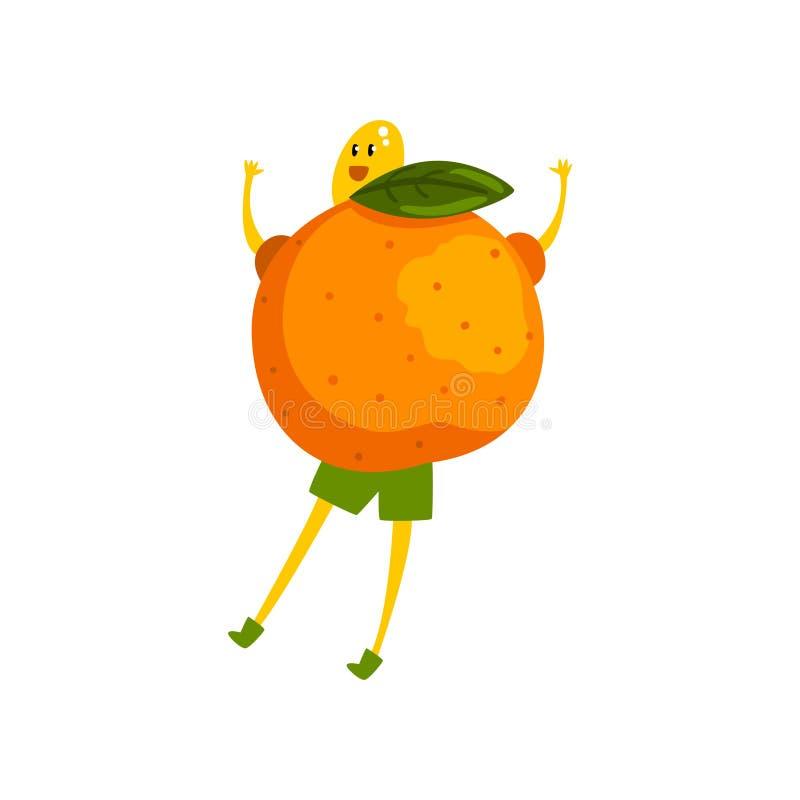 Personnage de dessin animé courageux de mandarine, illustration humanisée drôle de vecteur de fruit sur un fond blanc illustration libre de droits