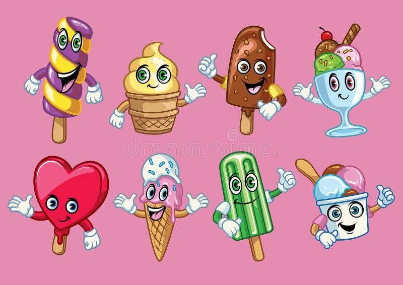 Personnage de dessin animé de crème glacée  illustration stock