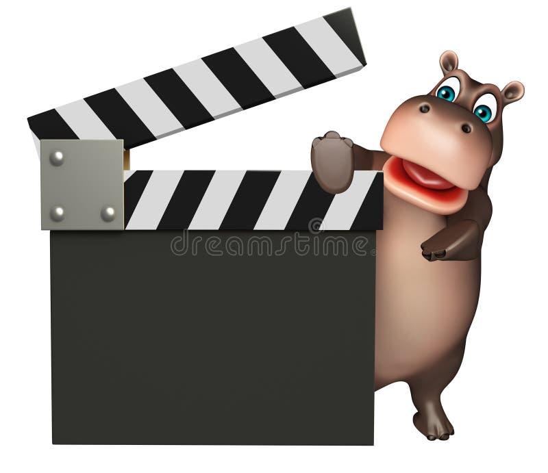 Personnage de dessin animé d'hippopotame d'amusement avec le bardeau illustration libre de droits