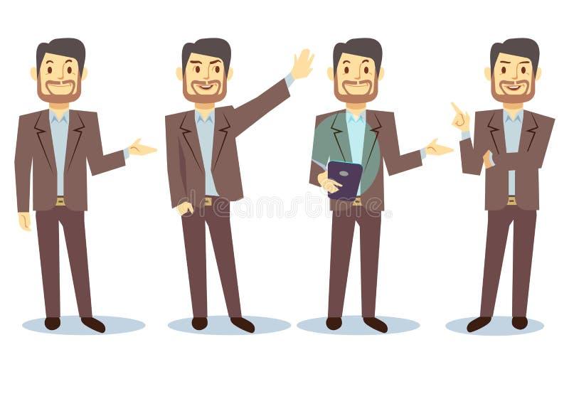 Personnage de dessin animé d'homme d'affaires dans différentes poses pour l'ensemble de vecteur de présentation d'affaires illustration libre de droits