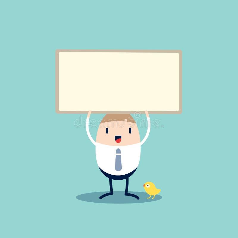 Personnage de dessin animé d'homme d'affaires tenant le panneau vide de signe illustration libre de droits