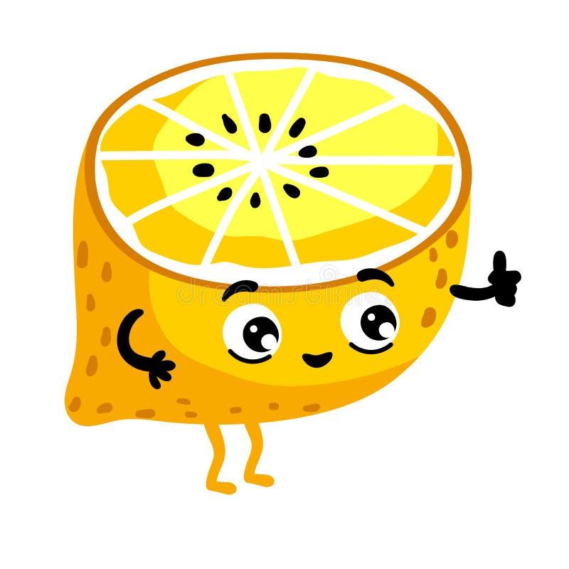 Personnage de dessin animé d'isolement par citron drôle de fruit illustration stock