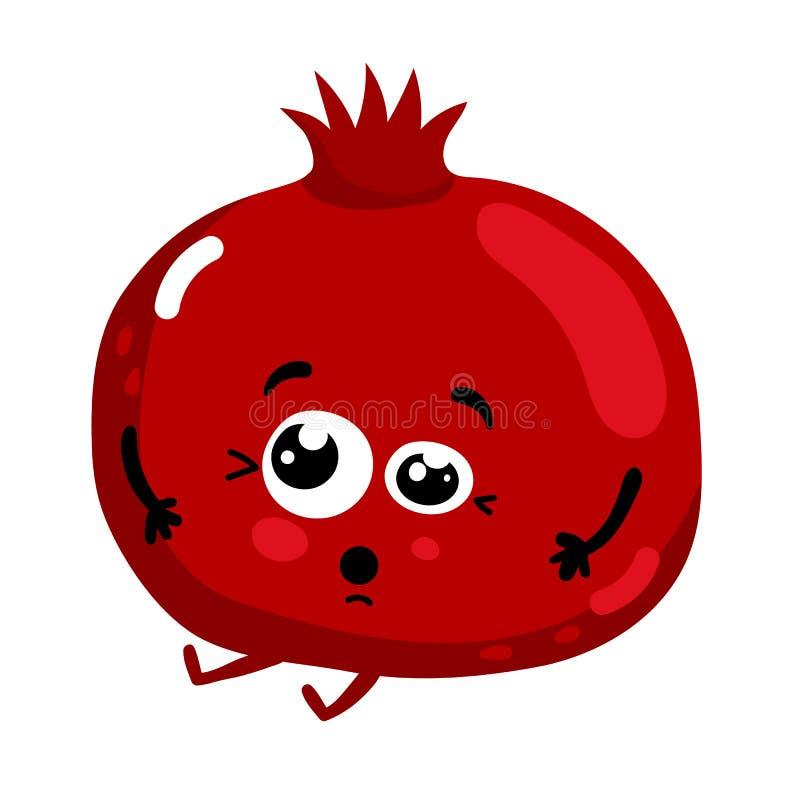 Personnage de dessin animé d'isolement par grenade drôle de fruit illustration stock