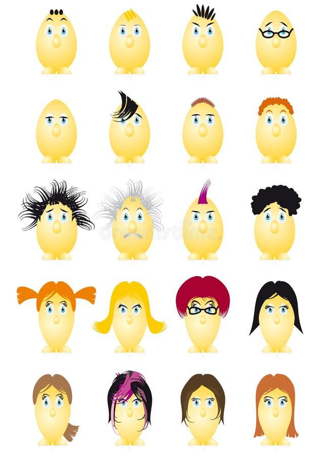Personnage de dessin animé d'oeufs de pâques illustration de vecteur