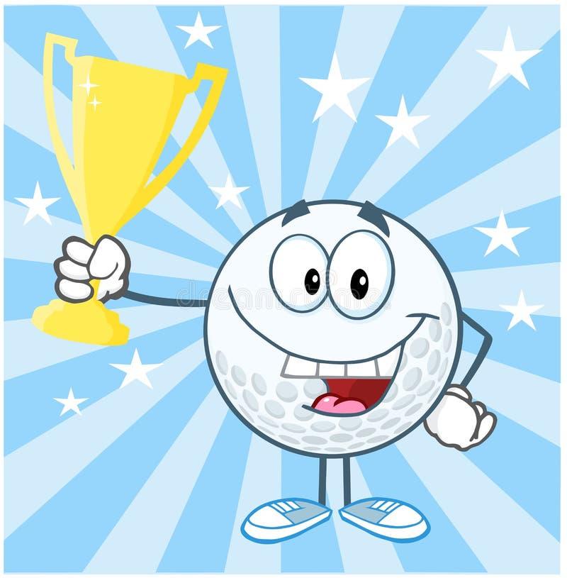 Personnage de dessin animé de boule de golf tenant la tasse professionnelle de trophée illustration libre de droits