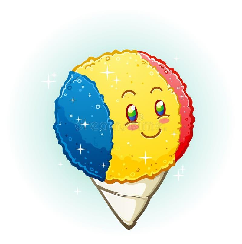 Personnage de dessin animé de cône de neige souriant avec Rosy Cheeks illustration stock