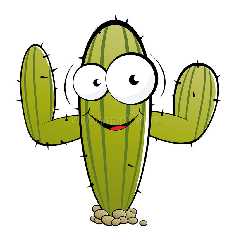 Personnage de dessin animé de cactus illustration stock