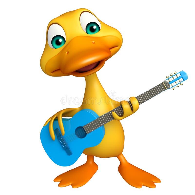 Personnage de dessin anim de canard avec la guitare - Illustration canard ...
