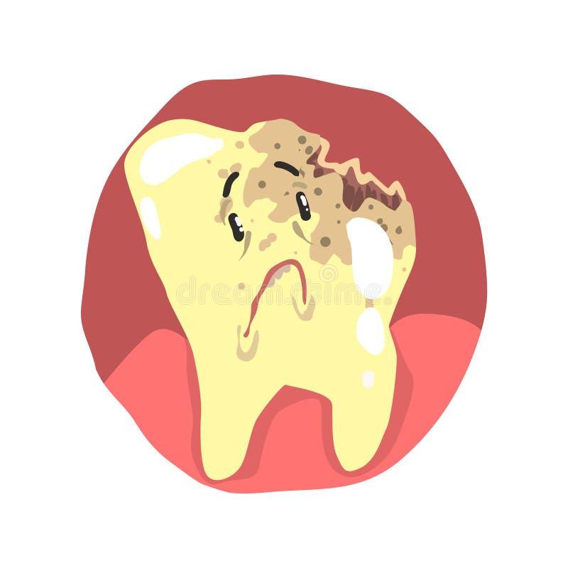 Personnage de dessin animé de carie dentaire avec l'illustration triste de vecteur de visage illustration de vecteur
