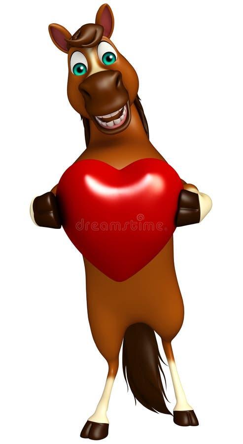 Personnage de dessin animé de cheval avec le coeur illustration de vecteur