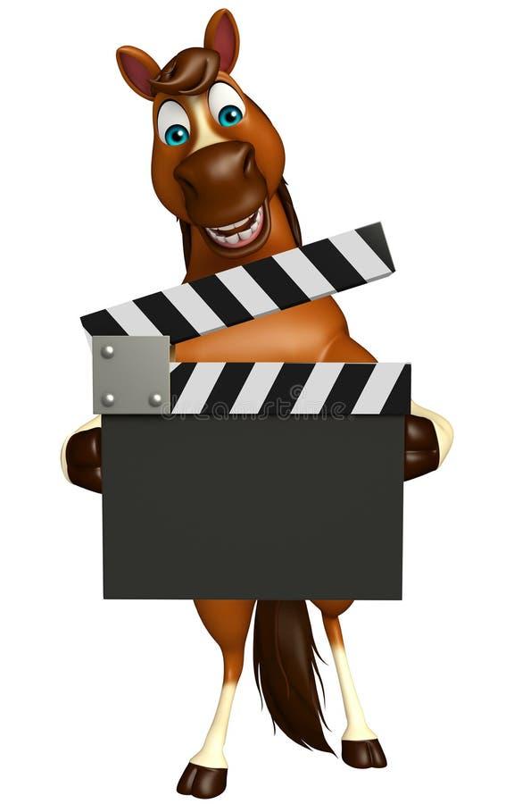 personnage de dessin animé de cheval d'amusement avec le bardeau illustration libre de droits