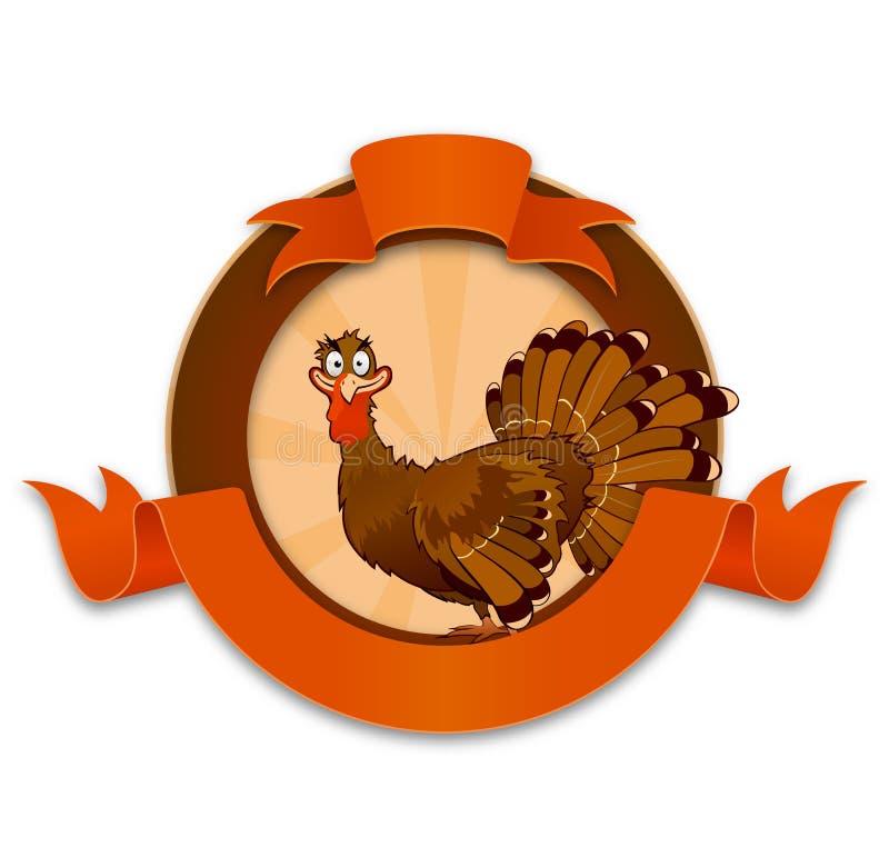 Personnage de dessin animé de dinde de thanksgiving illustration libre de droits