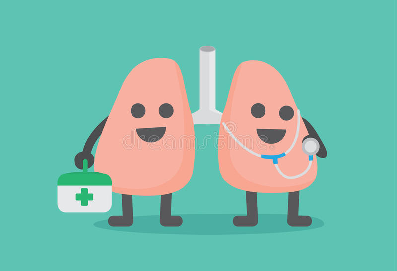 Personnage de dessin animé de docteur Lung illustration stock