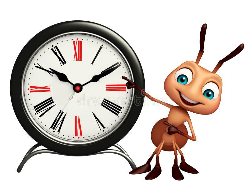 Personnage de dessin animé de fourmi avec l'horloge illustration de vecteur