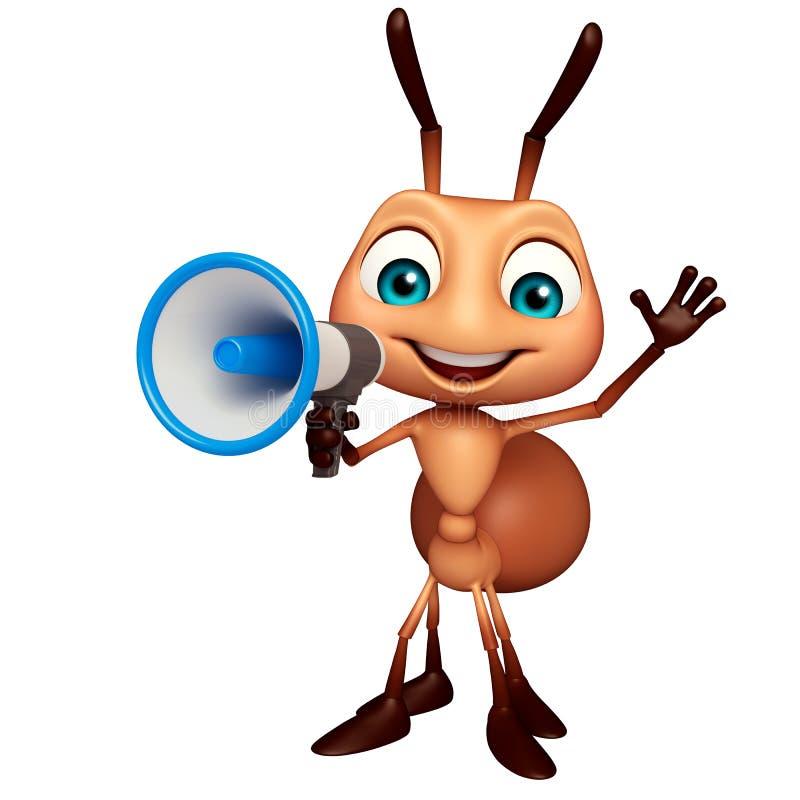 Personnage de dessin animé de fourmi d'amusement avec le haut-parleur illustration de vecteur