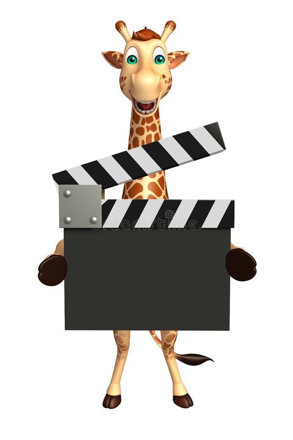 Personnage de dessin animé de girafe avec le bardeau illustration stock