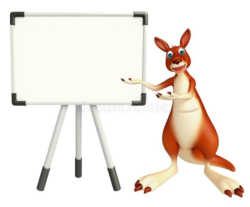 Personnage de dessin animé de kangourou avec le panneau d'affichage illustration stock