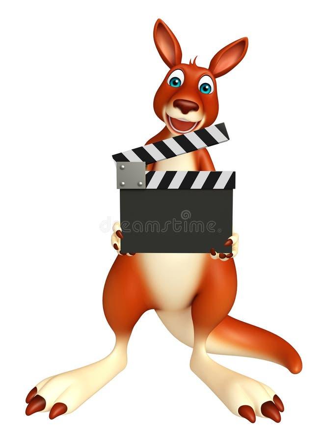 Personnage de dessin animé de kangourou d'amusement avec le bardeau illustration de vecteur